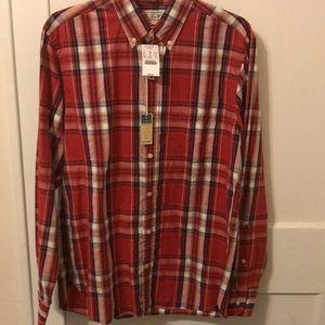 Men's long sleeve woven shirt.